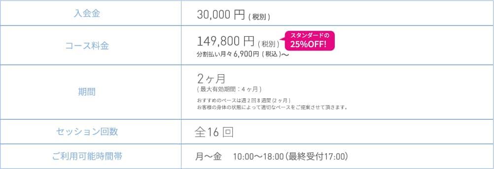 デイタイムコース_料金表
